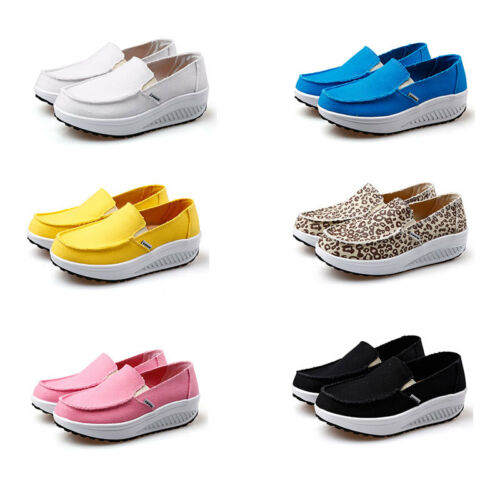 Women Summer Light Canvas Swing Athletic Shoes Slip Ons Toning Walking Sneakers