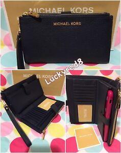 d91678df7086 NEW Michael Kors Jet Set Travel Leather Double Zip Wristlet Wallet ...