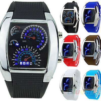 Turbo Sports Car Meter Dial Design Blue Flash LED Watch