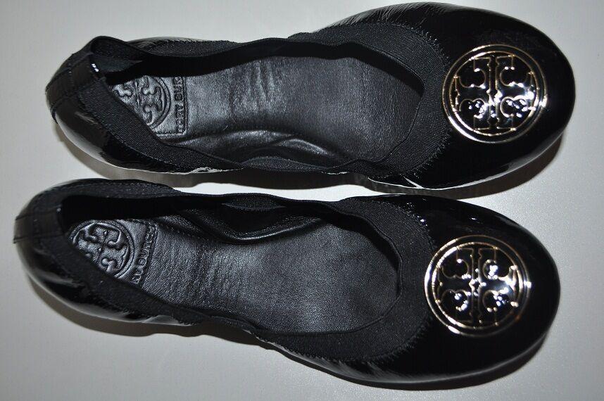 225 Tory Burch CAROLINE Sz 5.5  BLACK BLACK BLACK Patent Leather Ballet Flat shoes gold Logo 8cdfa7