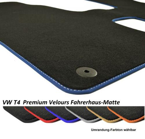 Fußmatte VW T4 Fahrerhaus 2x Einzelsitzen Premium Velours Anthrazit Rand wählbar