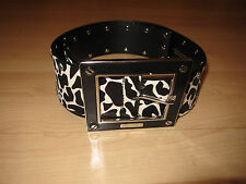 Karen Millen Zebra Giraffe Animal Pony skin fur belt leather large buckle M
