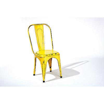 4 Chaises de cuisine bureau design empillable en métal type Cinéma INDIEN JAUNE