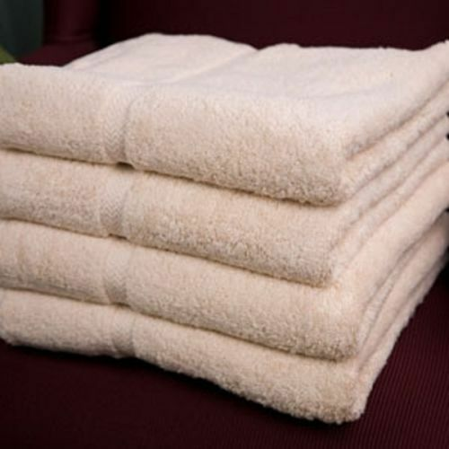 6 beige cotton hotel bath towels large 27x54 *premium* dobbby border 17# dozen