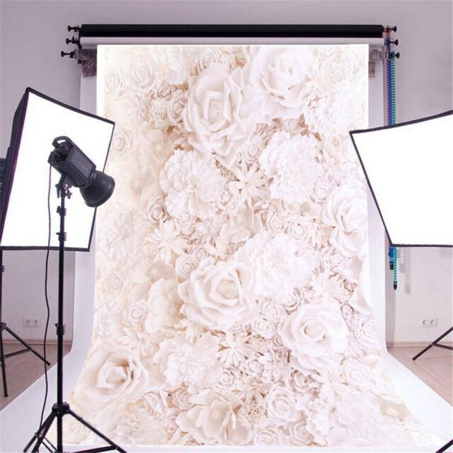 3x5//5x7ft White Rose Flowers Photography Backdrop Photo Studio Background UK I