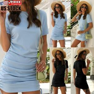 US-Women-039-s-Sexy-Round-Neck-Mini-Dress-Lace-Up-Short-Sleeve-Party-Bodycon-Dresses