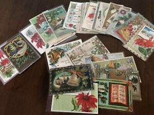 Lot-of-25-Vintage-1900-s-CHRISTMAS-Postcards-Antique-Xmas-in-Sleeves-Free-Ship