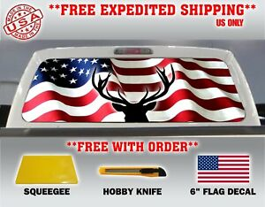 AMERICAN FLAG BLACK /& WHITE PICK-UP TRUCK REAR WINDOW GRAPHIC DECAL PERFORATED