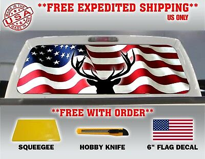AMERICAN EAGLE PERFORATED VINYL PICK-UP TRUCK REAR WINDOW GRAPHIC DECAL USA