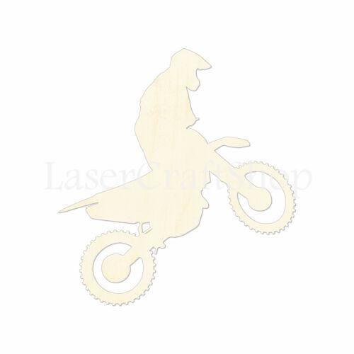 Silhouette Dirt Motorcycle Bike Wooden Cutout Shape Tags Laser Cut #1057