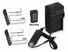 TWO NP130 Batteries + Charger for Casio EXH30 EXH30BK EXZR100 EX-ZR100B ZR-100BK