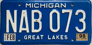 Michigan Great Lakes American Blue License USA Licence Number Plate NAB 073