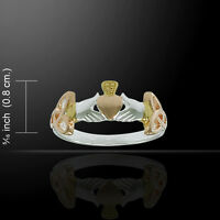 Irish Claddagh Celtic Knot Three Tone Ring By Peter Stone