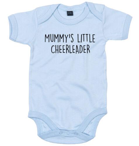 CHEERLEADER BODY SUIT PERSONALISED MUMMY/'S LITTLE BABY GROW NEWBORN GIFT