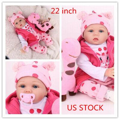 22/'/' Reborn Baby Dolls Realistic Vinyl Silicone Newborn Girl Doll Handmade Gifts