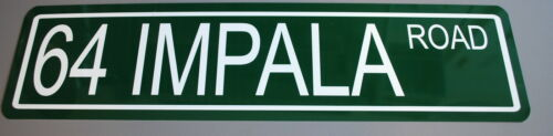 """METAL STREET SIGN 1964 /"""" 64 IMPALA ROAD /"""" 283 327 409 SS SUPER SPORT CHEVY"""