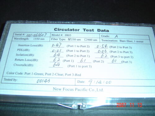 3 Port Fiber Optical Circulator New Focus CIR10BN32N-01 New with Test data