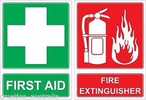FIRST AID & FIRE EXTINGUISHER Sticker 14cmx10cm Sign Decal Public Safety OHS WHS