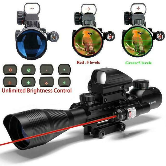4-12X50 EG R/&G Hunting Rifle Scope w// Holographic Dot Sight Red Laser Sight