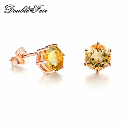 925 Sterling silver stud earrings with 6mm natural Citrine gemstones