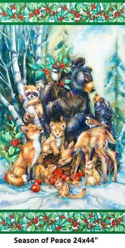 Woodland Glow Digital Christmas Panel cotton quilt fabric Kaufman Animals 17