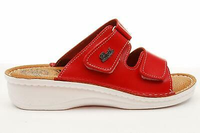 Red Dr Punto Rosso BRIL D54 Women Leather Slip On Clogs Mules Sandals Slippers