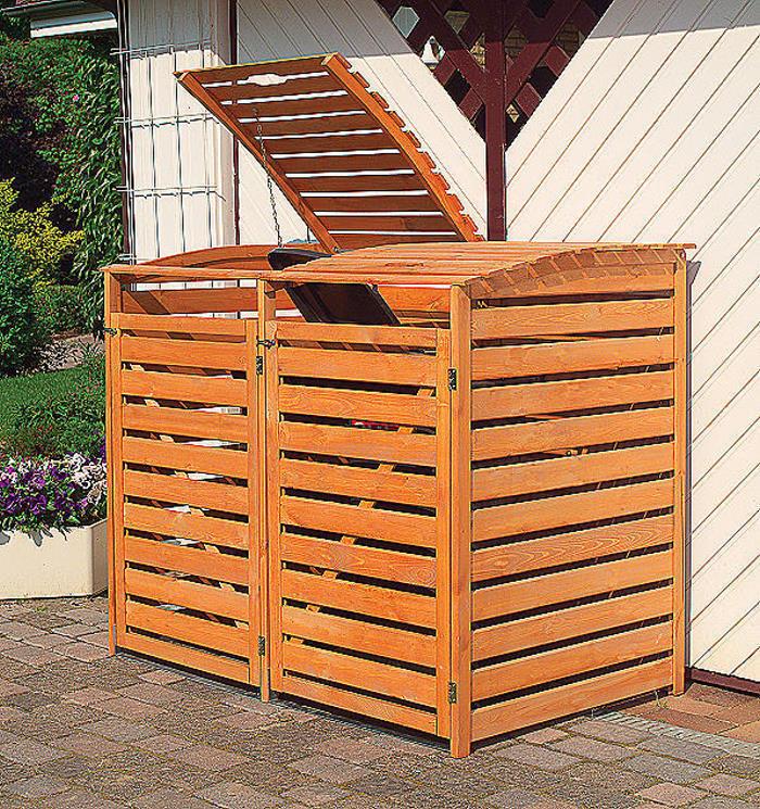 PROMADINO Mülltonnenbox VARIO III Müllbox für für für 2 Mülltonnen HONIGBRAUN 324 12 9c7dba