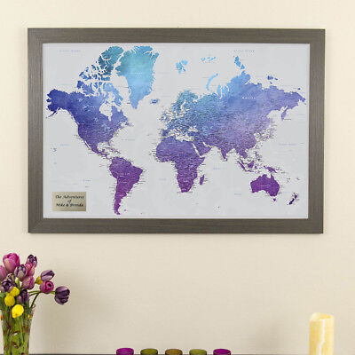 Vibrant Violet Watercolor World Map - Push Pin Travel Map - Pin Your  Travels | eBay