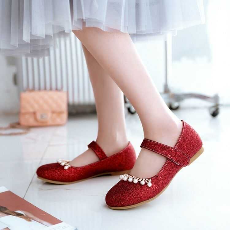 Fashion Women's Round Toe Beads Mary Jane Flat Sequins Glitter Lolita Flat shoes