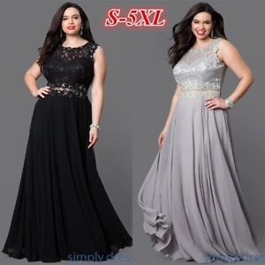 Details about Plus Size Lace Long Formal Prom Dress Sleeveless Elegant  Mother of Bride Dresses