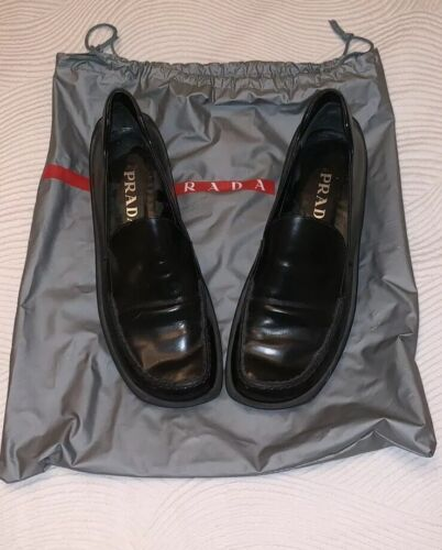PRADA Black Leather Loafer Women's Shoes