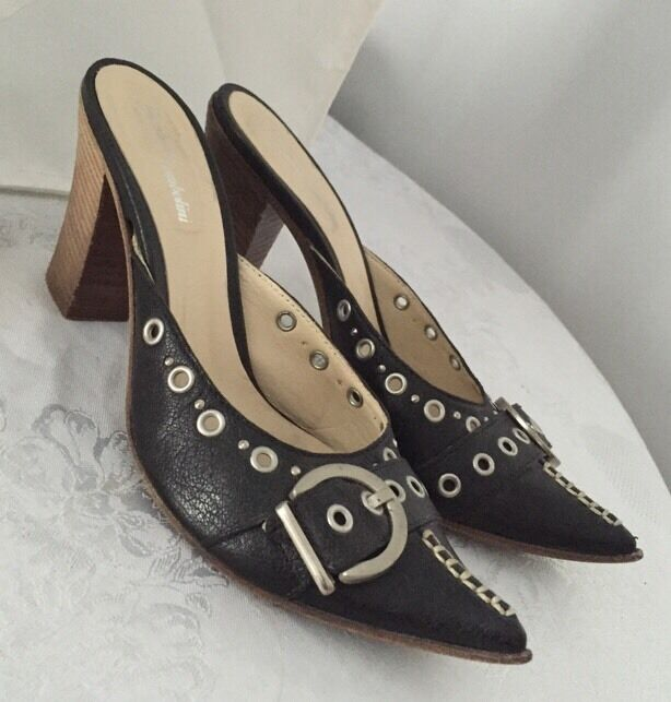 GIANLUCA TOMBOLINI Heeled Studded Slides Shoes MADE IN ITALY 37 US 7 Gorgeous