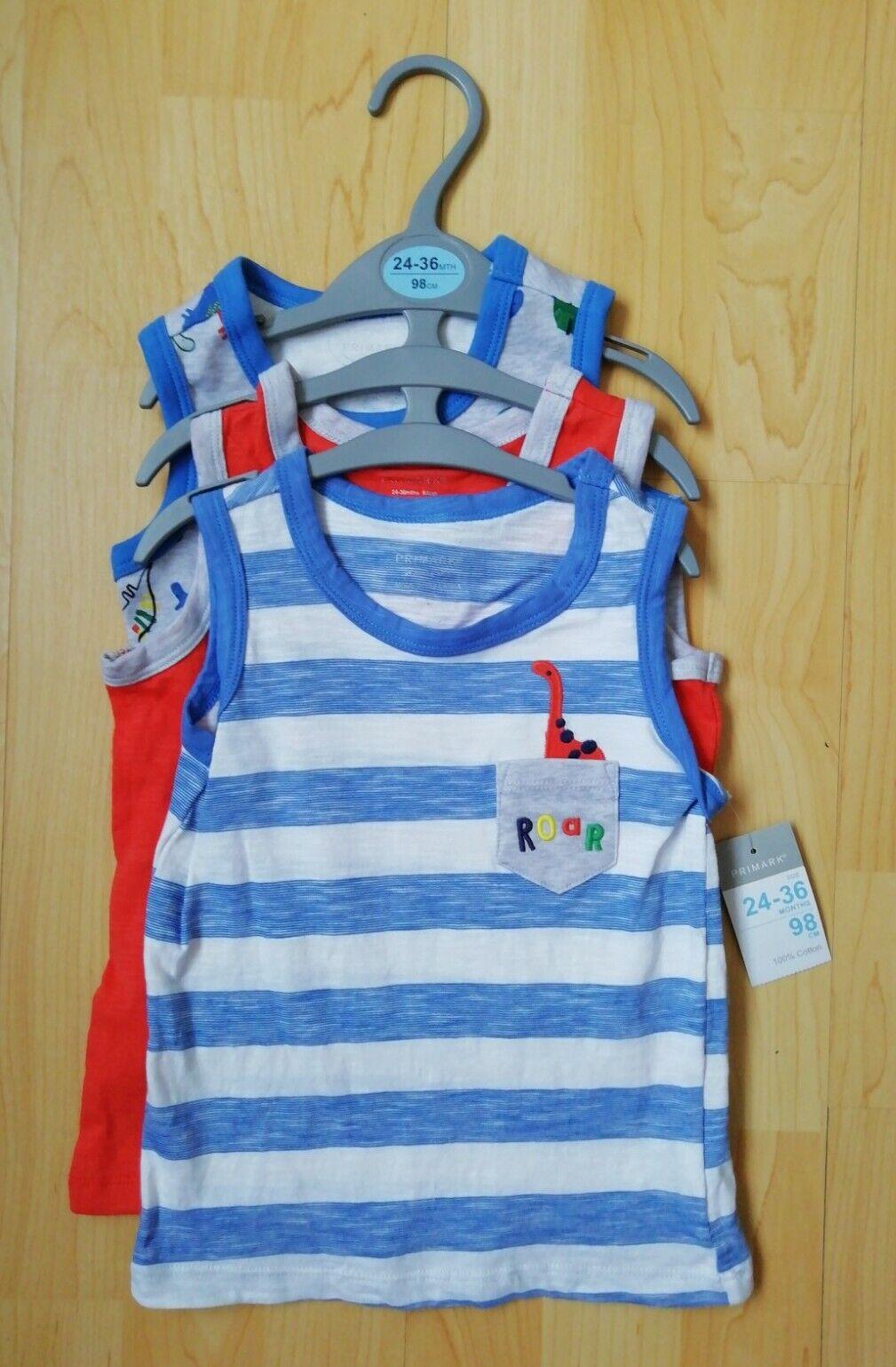 3 x Dinasaur themed Boys Vest Tops Age 24-36 months (bnwt)