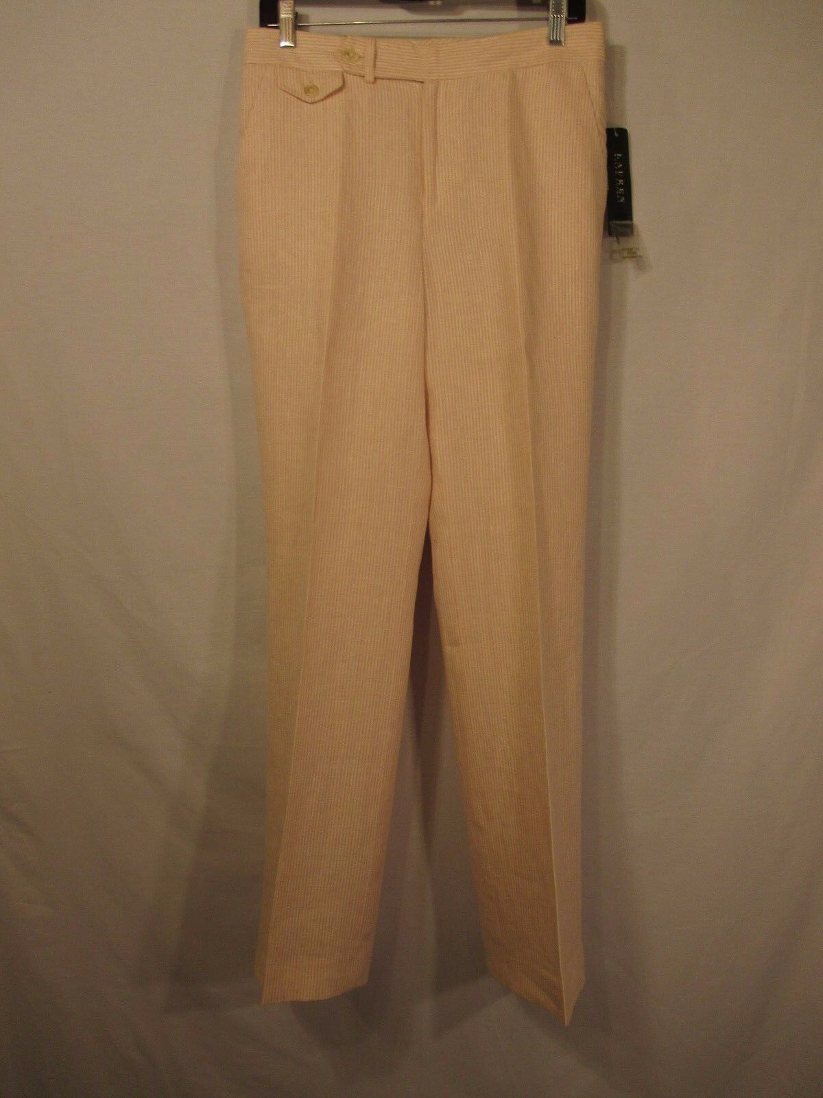 LAUREN RALPH LAUREN Pink & White Striped 100% Linen Lined Pants - Size 6 - NWT
