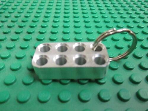 4 x 2 studless aluminum construction brick//keychain Works with Lego Technic.