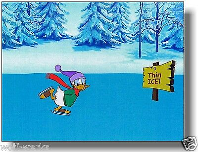 Disney Donald Duck Original production cel Ice skating on Thin Ice background
