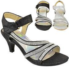 8e3120f571d Girls Kids Childrens Party Sandals Diamante Wedding Low Heel Shoes Dance  Size
