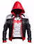 BATMAN Arkham Knight gioco Cappuccio Rosso in finta pelle Costume Giacca e Gilet-Grande Vendita