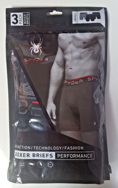 Spyder Stretch Boxers Trunks With Logo Waistband 3-Pack Mens Black size L
