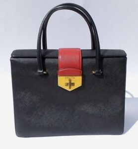 5a746526 Details about PRADA Saffiano Leather Double Gusset Tri Color Flap Tote Bag  Gold Turnlock SS14
