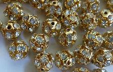 Stunning Gold Plated Stone Setting Metal Ball Beads 10 mm; Jewellery Make 20 Pcs