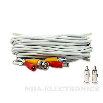 20 ft Siamese BNC RCA Video Power Cable for CCTV Security Camera System White