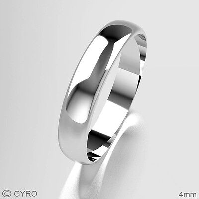 New Platinum Wedding Rings D Shape Band His/Hers 2mm 3mm 4mm 5mm 6mm 8mm