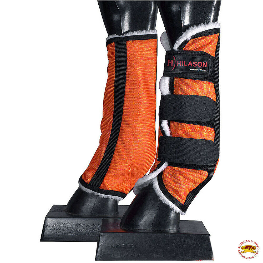 Hilason Western Uv Protection Warmblood Size Insects Fly Boots Grey Black U-01-A