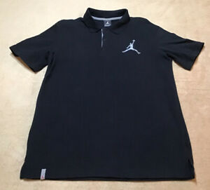 Nike-Air-Jordan-Big-Logo-Jumpman-S-S-Black-Gray-Polo-Shirt-23-Men-s-Sz-M-EUC