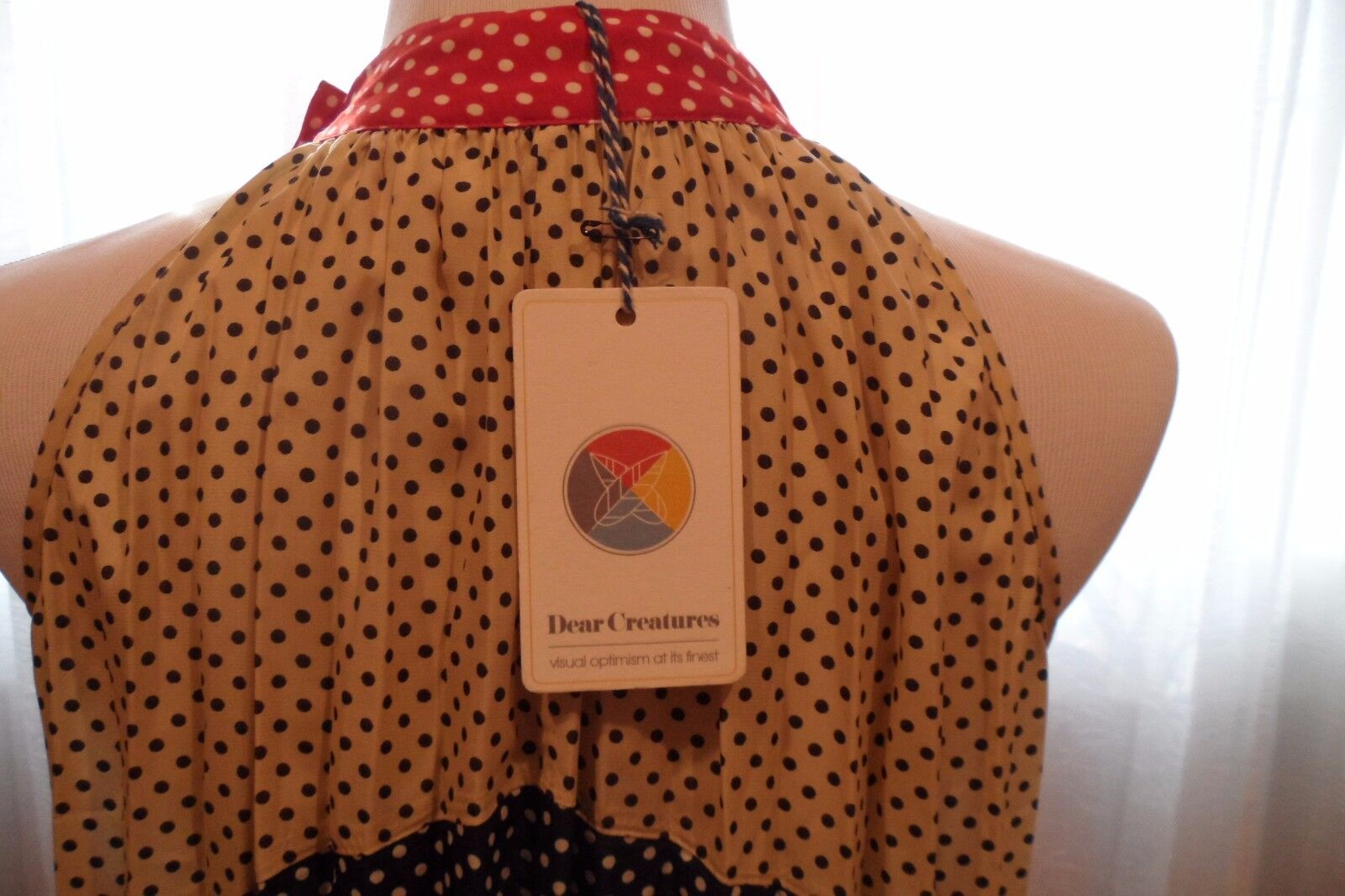 DEAR CREATURE FULLY FULLY FULLY PLEATED MULTI-COLOR POLKA DOT FAB SUMMER DRESS, SUPER COMFOR 046b50