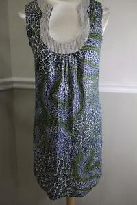 Trina-Turk-pattern-navy-and-green-metallic-tunic-dress-size-6-DR100