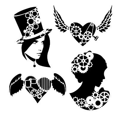 set of 4 6//6 inch steampunk stencils woman//cameo//heart £5 off only 10 sets avail