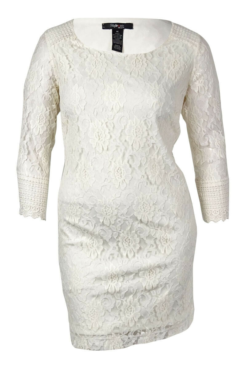 Style & Co. Women's Tokyo Vibe Lace Overlay Shift Dress