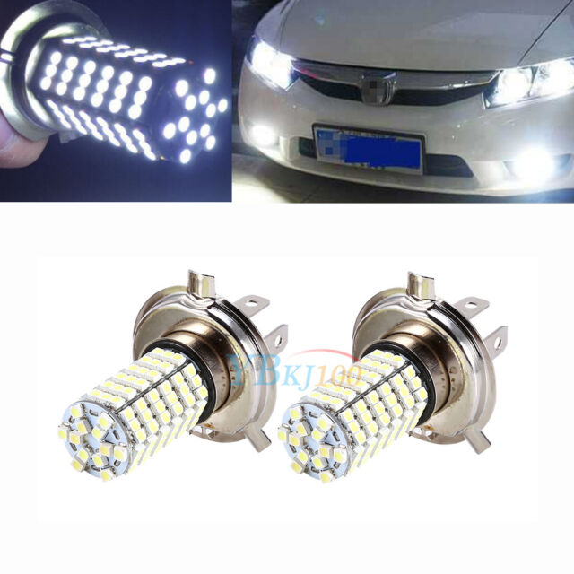 2x H4 120 SMD Car Light Bulb Hi/Low Beam LED Fog Headlight 9003 HB2 Lamp 6500K